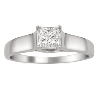Montebello 14k White Gold 1/4ct TDW Certified Princess Cut Diamond Ring (H-I, I1)
