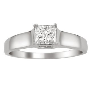 14k White Gold 1/4ct TDW Certified Diamond Solitaire Engagement Ring