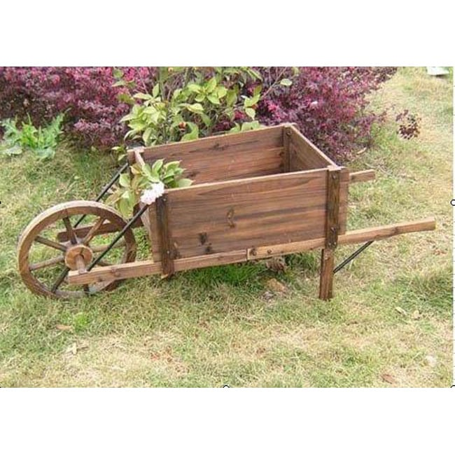 Artisan Distressed Fir Wood/Iron Wheelbarrow Planter (China)