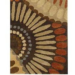 Hand Tufted Keasyn Green Abstract Wool Rug 5 X 8
