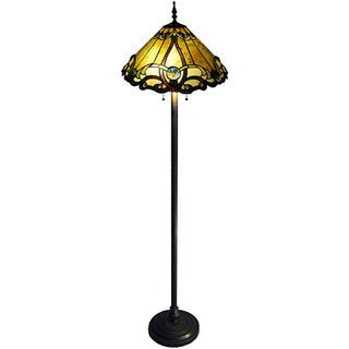 Tiffany style 2 light bronze victorian floor lamp for Overstock tiffany floor lamp