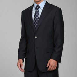Men's Navy Blue Striped 2-button Suit
