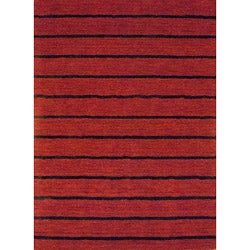 Indo Hand-tufted Tibetan Red Wool Rug (6'6 x 4'8)