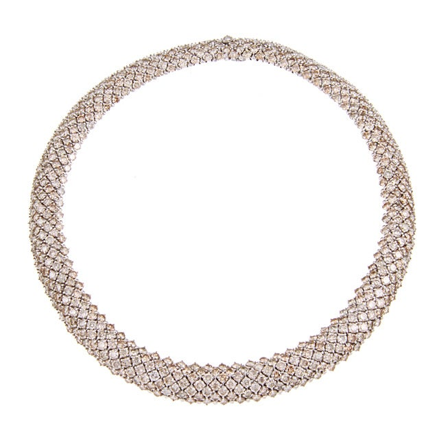 Pre-owned 18k White Gold 72ct TDW Champagne Diamond Riviera Estate Necklace