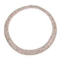 18k White Gold 72ct TDW Champagne Diamond Riviera Estate Necklace
