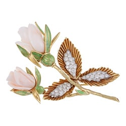 18k Gold Angel Skin Coral and 1 4/5ct TDW Diamond Estate Brooch (G-H, VS1-VS2)