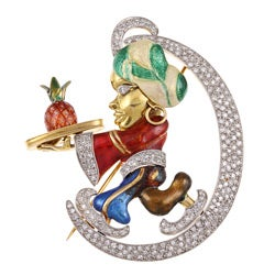 18k Gold 2ct TDW Diamond Magical Genie Estate Brooch (K-L, SI1-SI2)