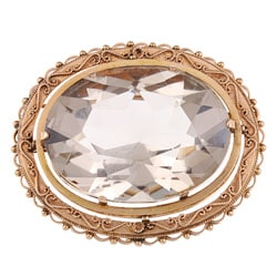 14k Yellow Gold 195ct TGW Smokey Quartz Estate Brooch