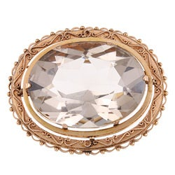 Pre-owned 14k Yellow Gold 195ct TGW Smokey Quartz Estate Brooch