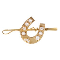 18k Yellow Gold 1 1/3ct TDW Diamond Horseshoe Estate Pin (J-K, SI1-SI2)