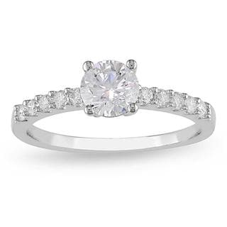 Miadora 14k White Gold 1ct TDW Certified Diamond Engagement Ring (G-H, I1-I2) with Bonus Earrings