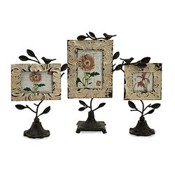 Set of 3 Iron Americana Feathered Friends Resting Birds Frames