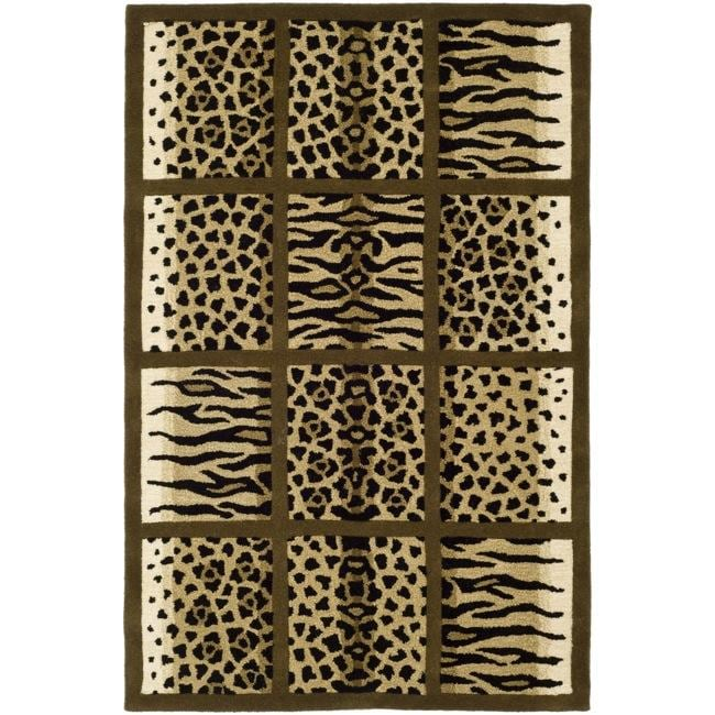 Safavieh Handmade Soho Jungle Print Beige New Zealand Wool Rug (7'6 x 9'6)