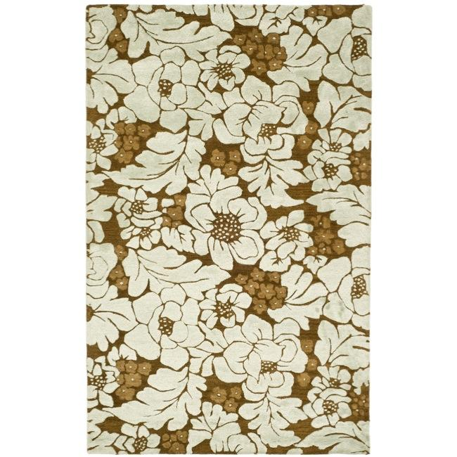 Safavieh Handmade Garden Chocolate/ Light Blue N. Z. Wool Rug (8'3 x 11')