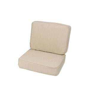 Saranac Teak Weather-Resistant Lounge Chair Cushion Set Made with Sunbrella Fabric