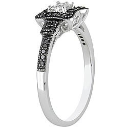 Miadora 10k Gold 1/4ct TDW White and Black Diamond Halo Engagement Ring (G-H, I1-I2)