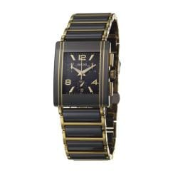 Rado Men's 'Integral' Goldtone Steel/ Black Ceramic Quartz Watch