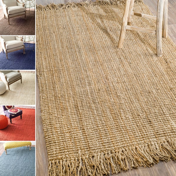 nuloom handmade eco natural fiber chunky loop jute rug 6apos x 9apos. Black Bedroom Furniture Sets. Home Design Ideas