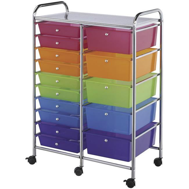 Double Storage Multicolor 15-drawer Cart