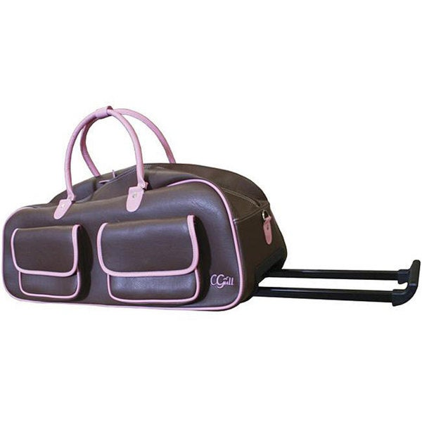 Cgull Expression Brown/ Pink Leather Rolling Tote
