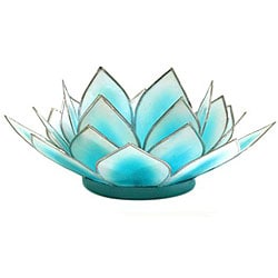 Capiz Shell Dahlia Aqua Lotus Tea Light (Philippines)
