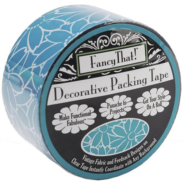 Decorative Teal Daisy 25 Yard Roll Packing Tape