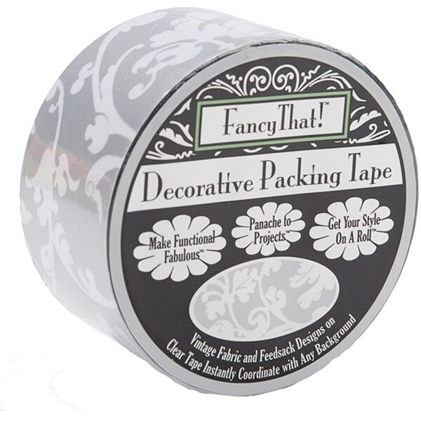 Fancy That! Silver Scroll 1.875-inch Decorative Packing Tape (25 Yards)