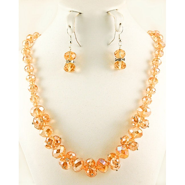 Topaz Crystal Cluster Necklace and Earring Jewelry Set