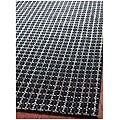 Handmade South Hampton Basketweave Black Rug (4' x 6')