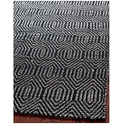 Handmade South Hampton Southwest Black Rug (5' x 8')