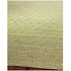 Handmade South Hampton Zag Green Rug (4' x 6')