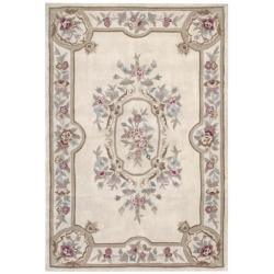 Nourison Hand-tufted Aubusson Garden Ivory Wool Rug (5'3 x 7'6)