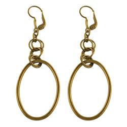 Fremada Chocolate-plated Sterling Silver Oval Dangle Earrings