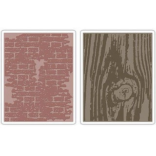 Sizzix Texture Fades Bricked and Woodgrain Embossing Folders 2-folder Pack