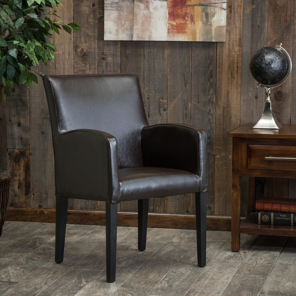 Christopher Knight Home Biltmore Brown Bonded Leather and Stained Dark Brown Wood Side Chair