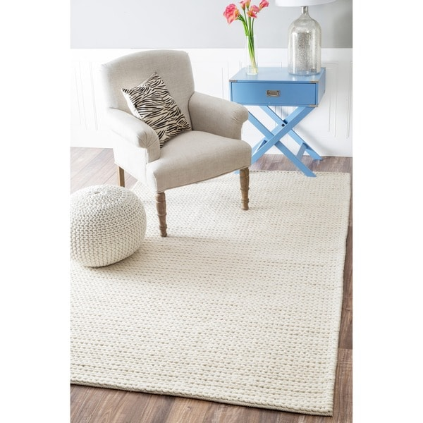 nuLOOM Handmade Braided Cable White New Zealand Wool Rug (3' x 5')