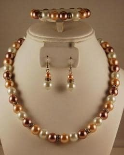Cream, Beige and White Glass Pearl Bead Jewelry Set