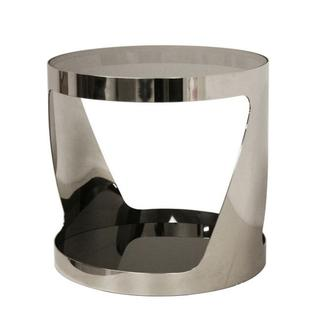 Genesis Steel and Tinted Glass Polished Steel End Table