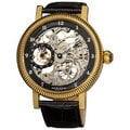 Akribos XXIV Men's Skeleton Mechanical Goldtone Strap Watch