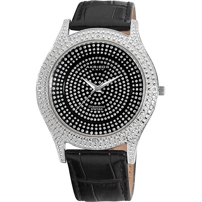 Akribos XXIV Men's Diamond Black Brilliance Swiss Quartz Strap Watch