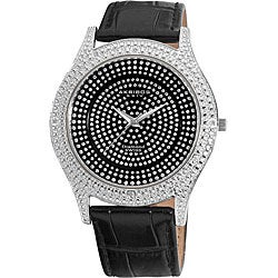 Akribos XXIV Men's Diamond Black Brilliance Swiss Quartz Strap Watch