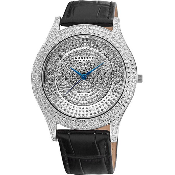 Akribos XXIV Men's Diamond Silver Brilliance Swiss Quartz Strap Watch