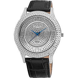 Akribos XXIV Men's Diamond Silver Brilliance Swiss Quartz Strap Watch