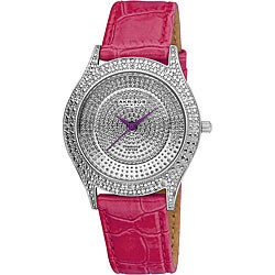 Akribos XXIV Women's Diamond Fuchsia Brilliance Swiss Quartz Strap Watch