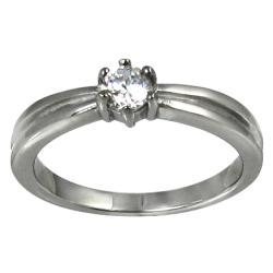 Stainless-Steel Round-Cut Cubic Zirconia Solitaire Ring