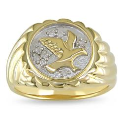 Miadora Two-tone Men's 1/10ct TDW Diamond Eagle Ring (H-I, I2-I3)