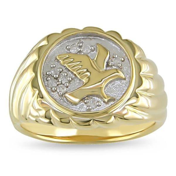 Miadora Men's 1/10ct TDW Diamond Eagle Ring (H-I, I2-I3)