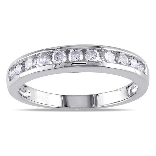 Miadora 10k White Gold 1/2ct TDW Diamond Anniversary Ring (K, I2-I3)