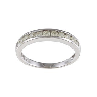 Miadora 10k White Gold 1/2ct TDW Diamond Anniversary Ring (K, I2-I3)