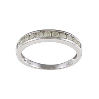 Miadora 10k White Gold 1/2ct TDW Diamond Wedding Band (K, I2-I3)